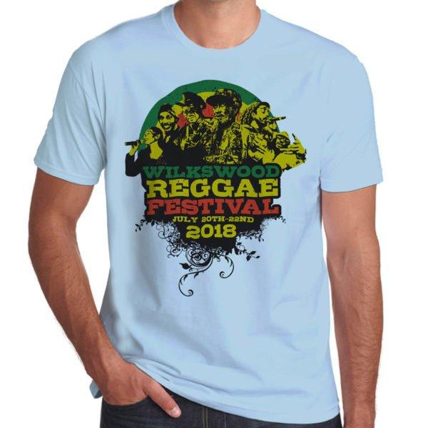 Wilkswood Reggae Festival 2018 sky blue t-shirt