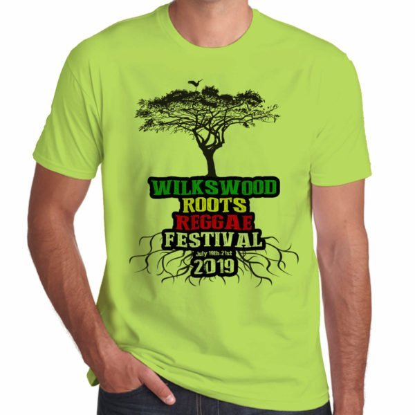 Wilkswood Reggae Festival 2019 lime green t-shirt