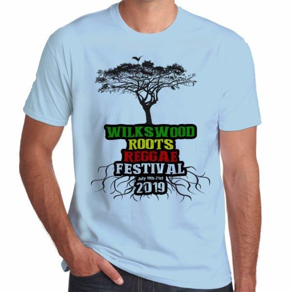 Wilkswood Reggae Festival 2019 sky blue t-shirt