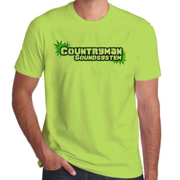 Wilkswood Reggae Festival   Countryman Sound System T-Shirt   Lime Green